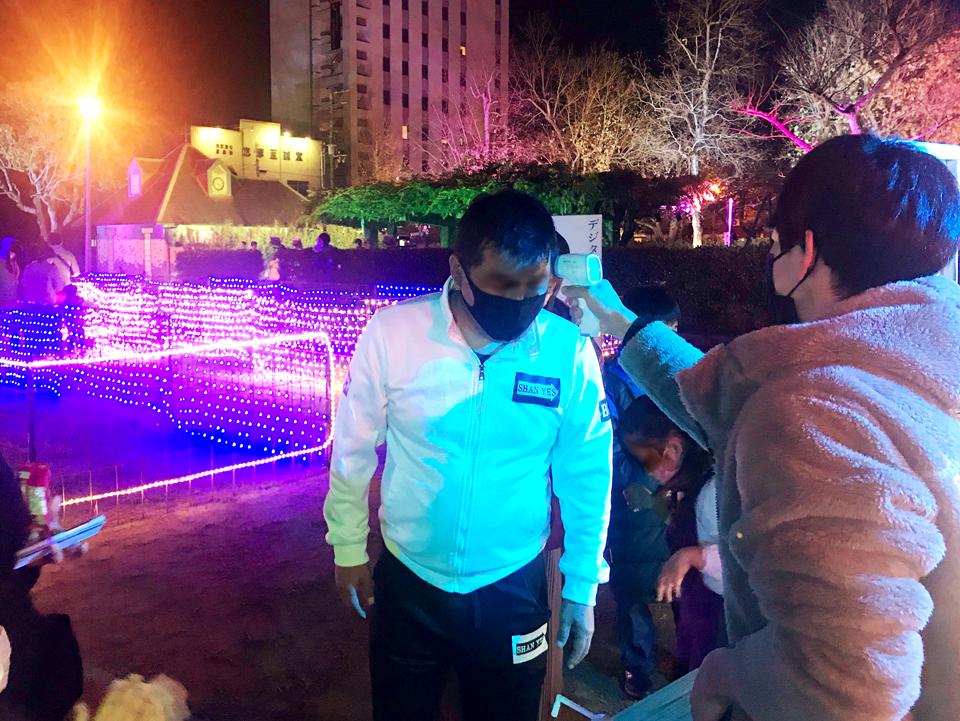 検温や消毒など新型コロナウイルス感染症対策を徹底して行われる舞鶴市イベント
